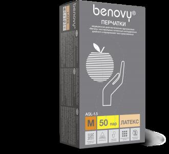 Перчатки BENOVY Dental Formula Double Chlorinated латексные светло-желтые, S, 100 шт, Benovy