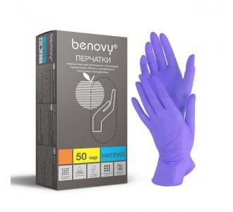 Перчатки нитриловые фиолетово-голубые размер L, 100 шт, BENOVY Nitrile MultiColor