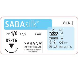Шелк Sabana Medizinbedarf Sabasilk 4-0 игла обратно-режущая DS-16, окр.3/8 раскрой, цвет черный, 45см